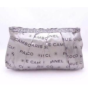 CHANEL Unlimited Clutch Bag Silver Nylon Jacquard